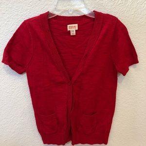 Red Short Sleeve Cardigan